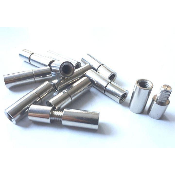 Соединитель для троса 11 mm светлый метал с резьбой, многоразовый из двух частей